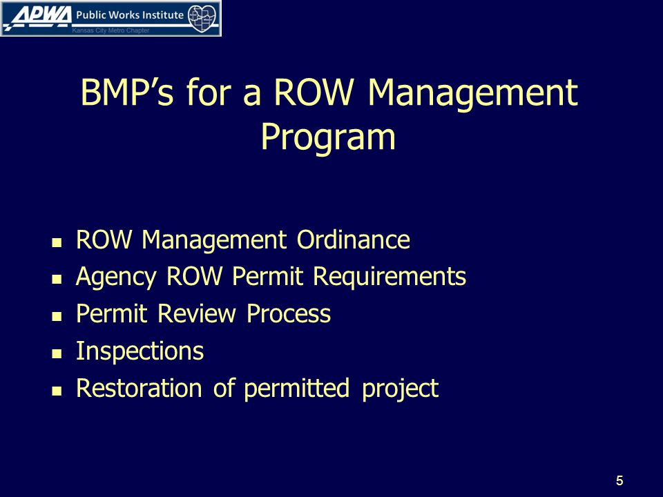 Row Management Ordinance This is your enforcement mechanism Sets forth regulations for access to the right of way Outlines obligations of the city Outlines obligations of ROW users Outlines obligations to the public 6