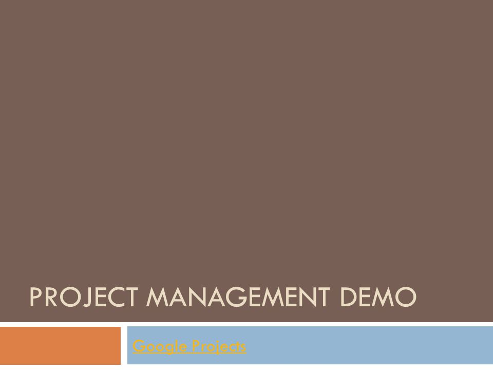 PROJECT MANAGEMENT DEMO Google Projects