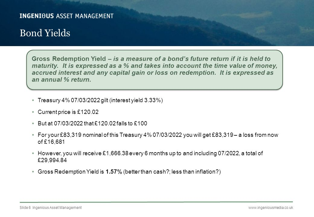 Slide 7 Ingenious Asset Managementwww.ingeniousmedia.co.uk Bond Yields PriceInterest Yield Gross Redemption Yield 9 Year Gilt TR 4% 2022£120.023.33%1.57% 4 Year Gilt£104.242.64%0.26% 25 Year Gilt£132.853.58%2.92% Treasury 4.25% 2027£123.343.44%2.31% Index-Linked Gilt 1.25% 2027 £131.240.93%-0.78%* M&G Corporate Bond Fund 167.16p3.22%2.26% *Prospective Real Redemption rate on projected inflation of 3% Source: Morningstar Direct