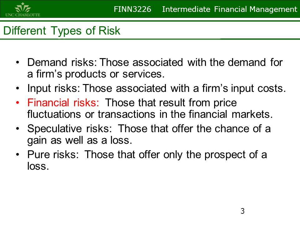 FINN3226 Intermediate Financial Management Different Types of Risk Demand risks: Those associated with the demand for a firms products or services. In