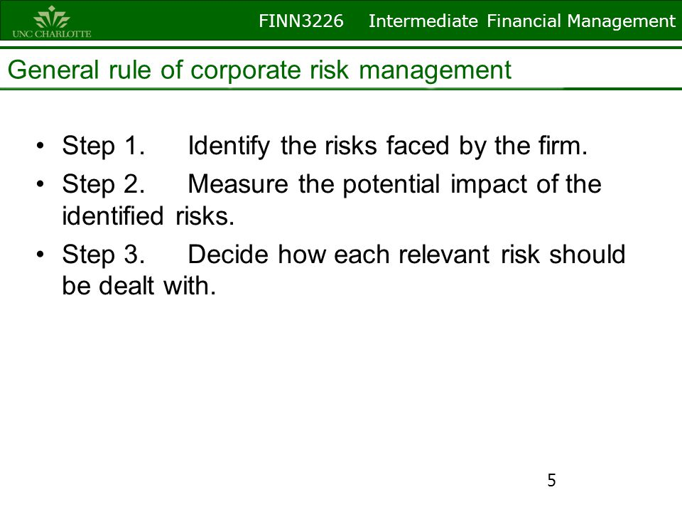 FINN3226 Intermediate Financial Management How to minimize or reduce risk exposures.