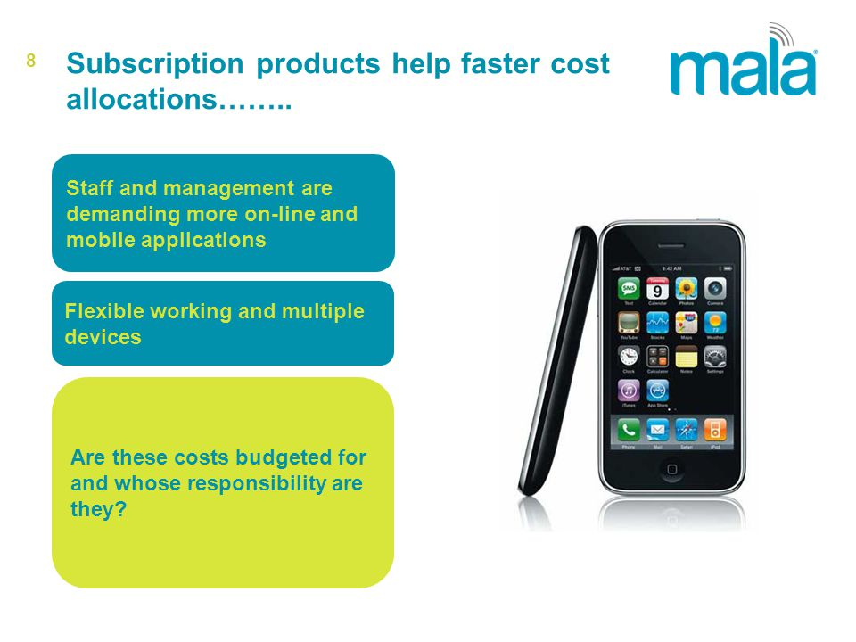 8 Subscription products help faster cost allocations……..