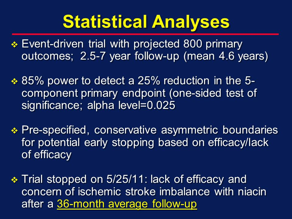 Statistical Analyses Event-driven trial with projected 800 primary outcomes; year follow-up (mean 4.6 years) Event-driven trial with projected 800 primary outcomes; year follow-up (mean 4.6 years) 85% power to detect a 25% reduction in the 5- component primary endpoint (one-sided test of significance; alpha level= % power to detect a 25% reduction in the 5- component primary endpoint (one-sided test of significance; alpha level=0.025 Pre-specified, conservative asymmetric boundaries for potential early stopping based on efficacy/lack of efficacy Pre-specified, conservative asymmetric boundaries for potential early stopping based on efficacy/lack of efficacy Trial stopped on 5/25/11: lack of efficacy and concern of ischemic stroke imbalance with niacin after a 36-month average follow-up Trial stopped on 5/25/11: lack of efficacy and concern of ischemic stroke imbalance with niacin after a 36-month average follow-up