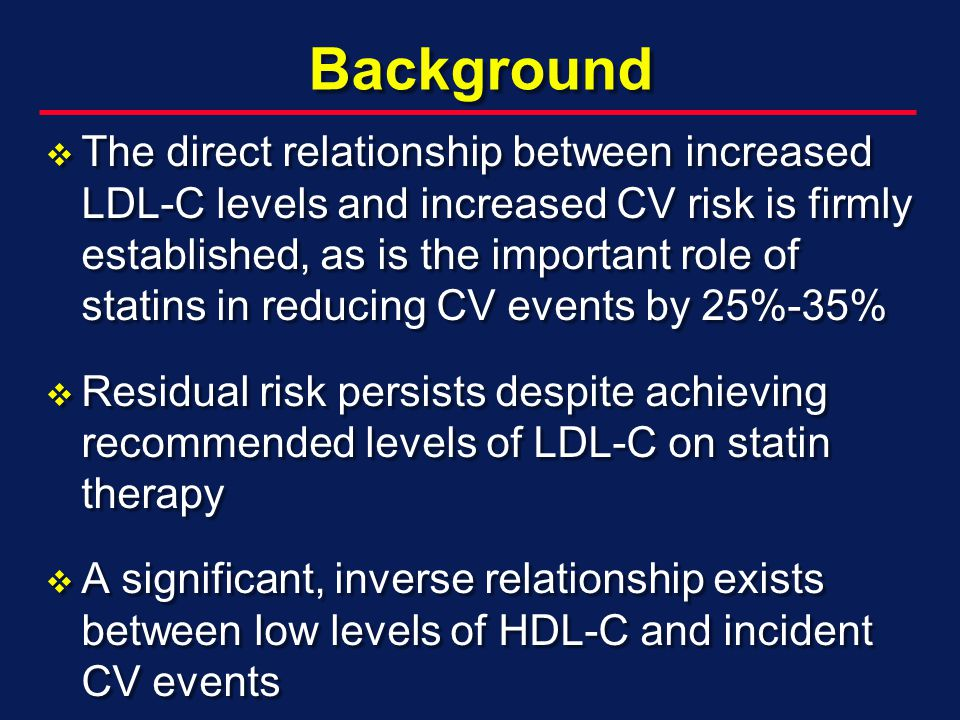 Background The direct relationship between increased LDL-C levels and increased CV risk is firmly established, as is the important role of statins in reducing CV events by 25%-35% The direct relationship between increased LDL-C levels and increased CV risk is firmly established, as is the important role of statins in reducing CV events by 25%-35% Residual risk persists despite achieving recommended levels of LDL-C on statin therapy Residual risk persists despite achieving recommended levels of LDL-C on statin therapy A significant, inverse relationship exists between low levels of HDL-C and incident CV events A significant, inverse relationship exists between low levels of HDL-C and incident CV events