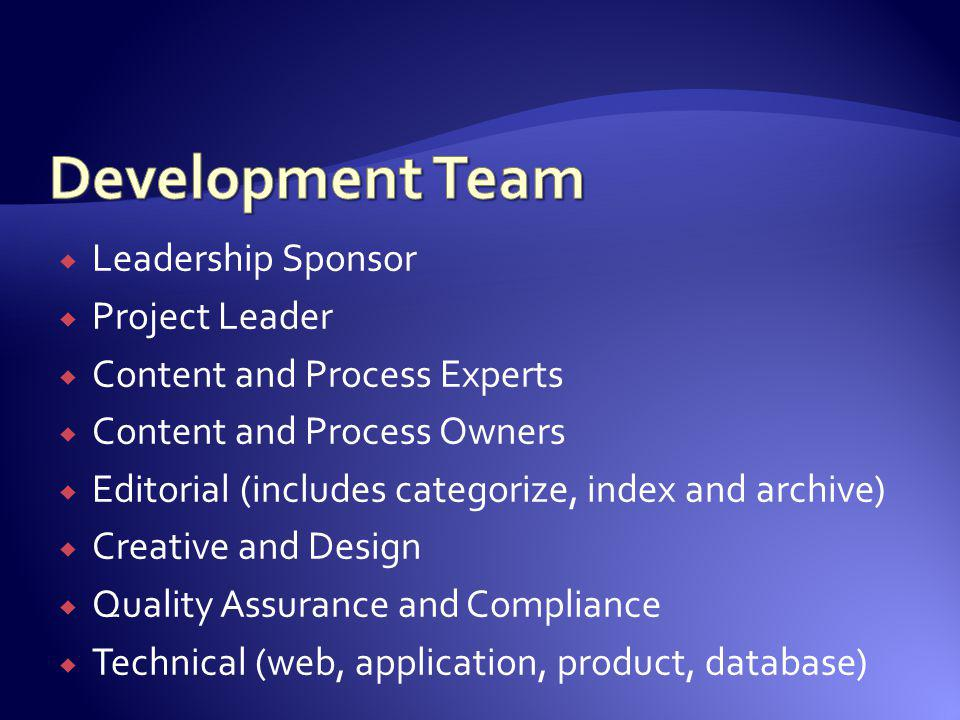 Leadership Sponsor Project Leader Content and Process Experts Content and Process Owners Editorial (includes categorize, index and archive) Creative a