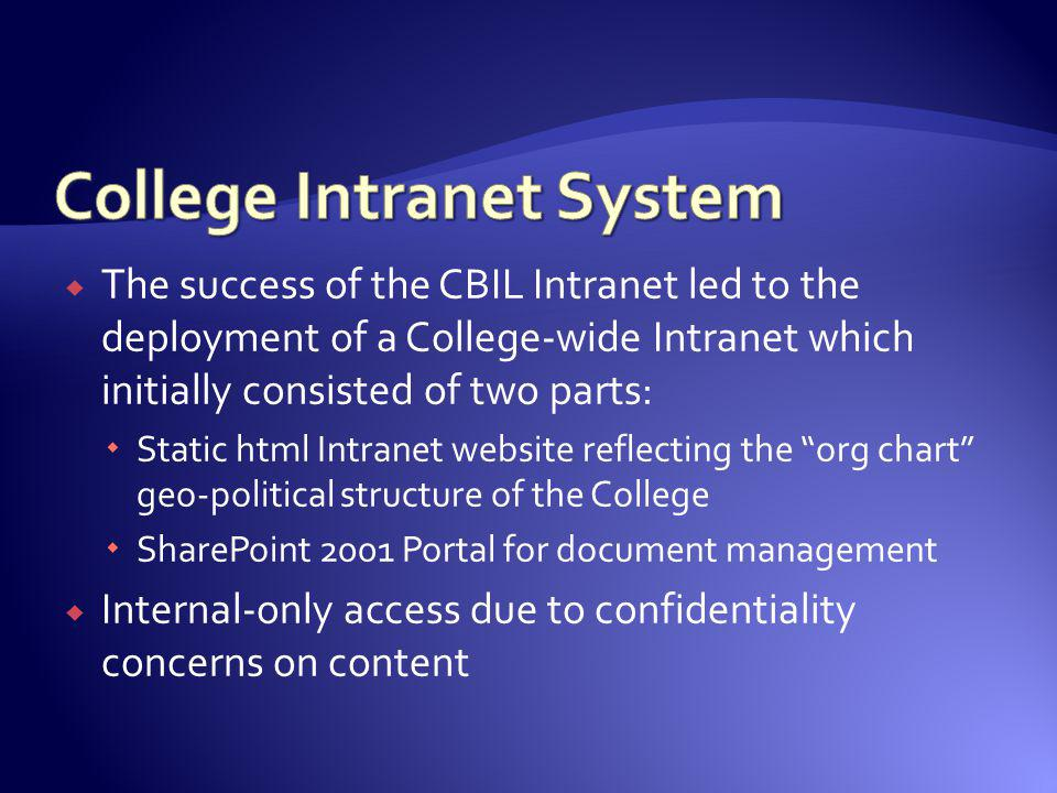 The success of the CBIL Intranet led to the deployment of a College-wide Intranet which initially consisted of two parts: Static html Intranet website