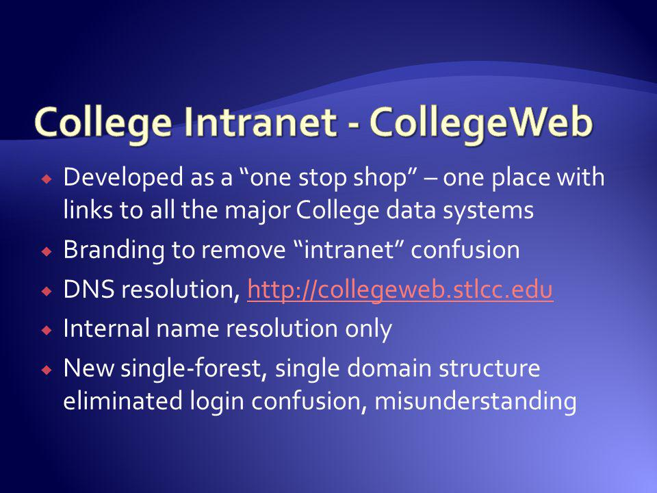 Developed as a one stop shop – one place with links to all the major College data systems Branding to remove intranet confusion DNS resolution, http:/