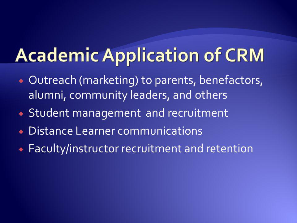Outreach (marketing) to parents, benefactors, alumni, community leaders, and others Student management and recruitment Distance Learner communications