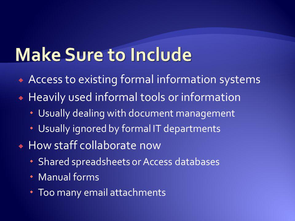 Access to existing formal information systems Heavily used informal tools or information Usually dealing with document management Usually ignored by f
