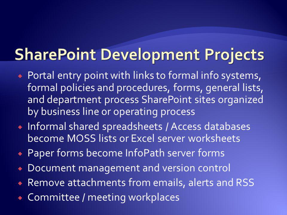 Portal entry point with links to formal info systems, formal policies and procedures, forms, general lists, and department process SharePoint sites or