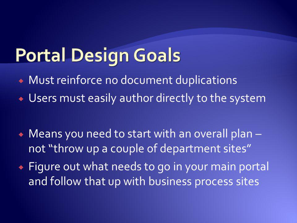 Must reinforce no document duplications Users must easily author directly to the system Means you need to start with an overall plan – not throw up a