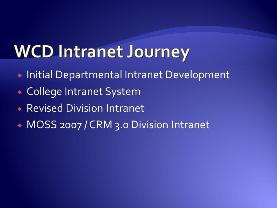 Initial Departmental Intranet Development College Intranet System Revised Division Intranet MOSS 2007 / CRM 3.0 Division Intranet