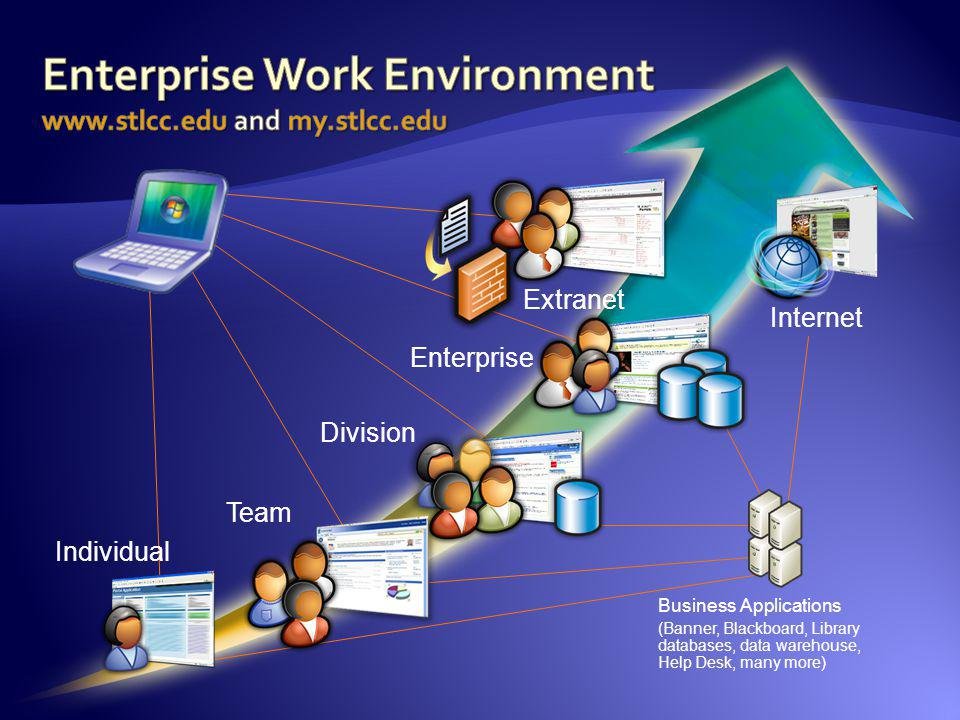 Team Division Enterprise Extranet Internet Individual Business Applications (Banner, Blackboard, Library databases, data warehouse, Help Desk, many mo