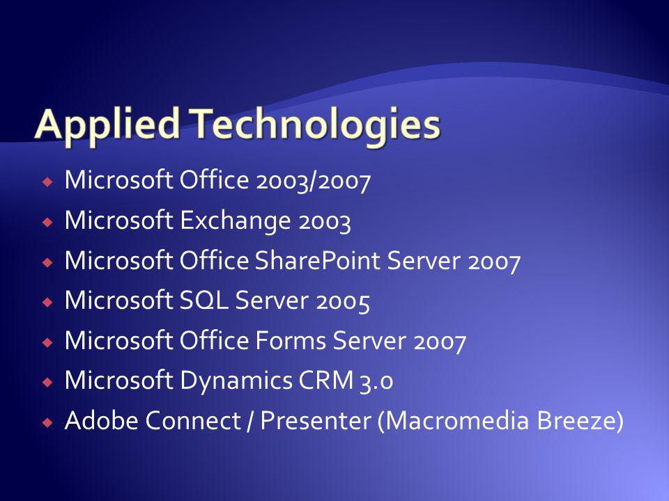 Microsoft Office 2003/2007 Microsoft Exchange 2003 Microsoft Office SharePoint Server 2007 Microsoft SQL Server 2005 Microsoft Office Forms Server 200