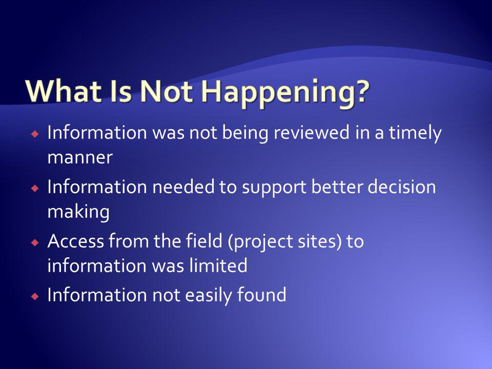 Information was not being reviewed in a timely manner Information needed to support better decision making Access from the field (project sites) to in