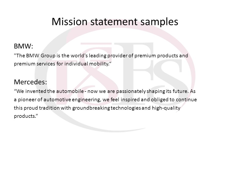Mission statement samples BMW: