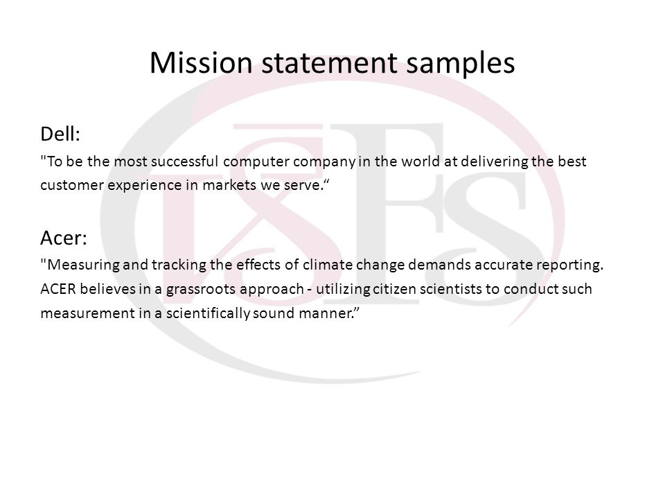 Mission statement samples Dell: