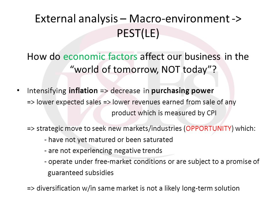 External analysis – Macro-environment -> PEST(LE) How do economic factors affect our business in the world of tomorrow, NOT today? Intensifying inflat