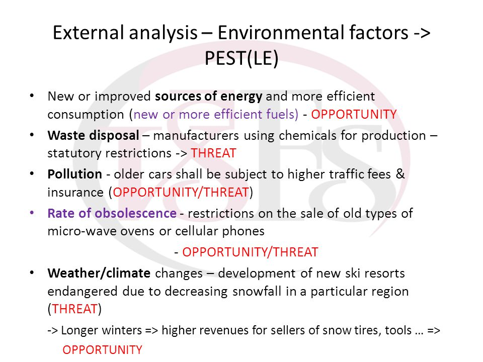External analysis – Environmental factors -> PEST(LE) New or improved sources of energy and more efficient consumption (new or more efficient fuels) -