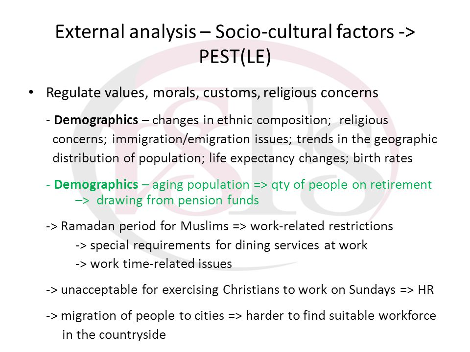 External analysis – Socio-cultural factors -> PEST(LE) Regulate values, morals, customs, religious concerns - Demographics – changes in ethnic composi
