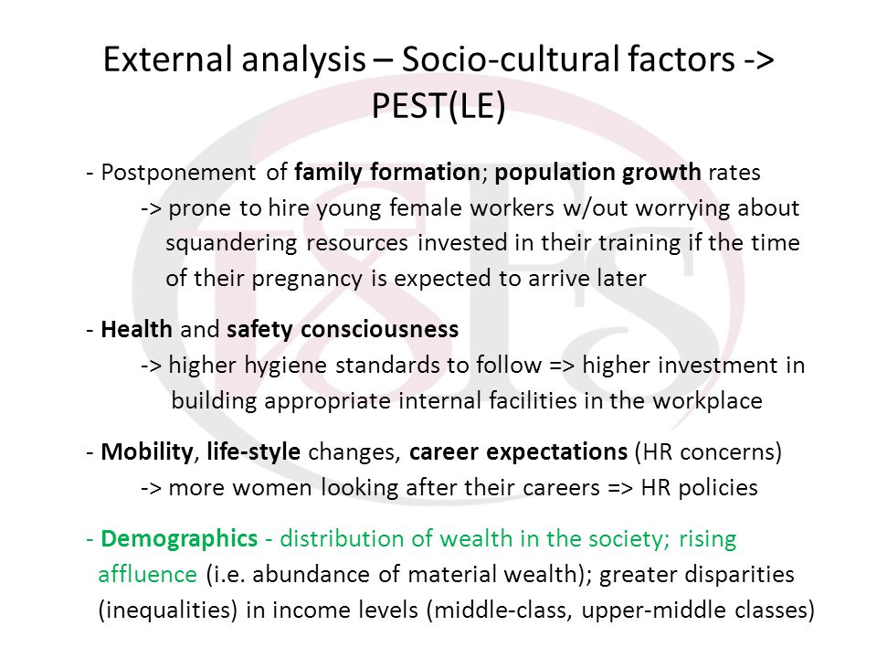 External analysis – Socio-cultural factors -> PEST(LE) - Postponement of family formation; population growth rates -> prone to hire young female worke