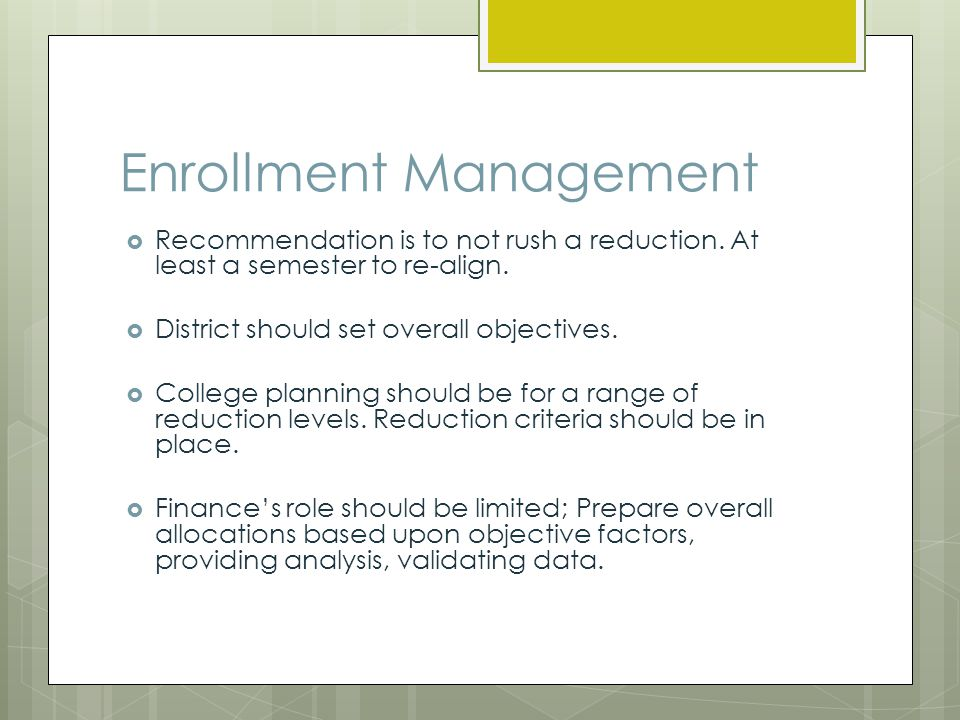 Enrollment Management Growth District should have a plan for how growth will be allocated when it is funded (assuming no over cap); Did the old model/formula work.