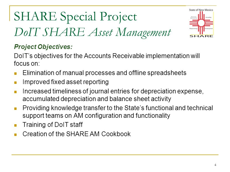 SHARE Special Project DoIT SHARE Asset Management 5 Timeline for the DoIT SHARE Asset Management project: