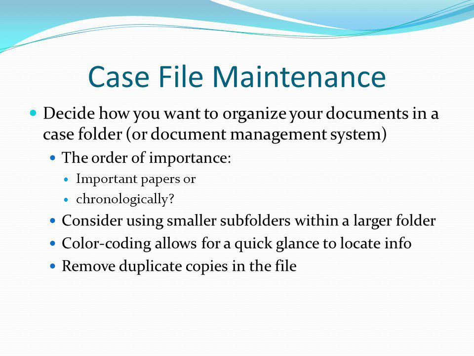 Benefits of Case or Practice Management Software Can be used to digitize important file information Can be used to track open and closed file info Can be used for or linked to document management Automates firms workflow to improve efficiency Core Functions Central Contact List Central Case/ Matter Database Case Notes Calendar and Tickler Document Generation/ Management