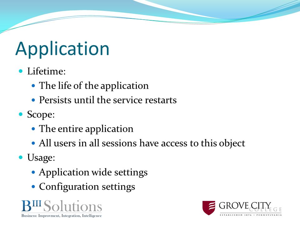 Application Lifetime: The life of the application Persists until the service restarts Scope: The entire application All users in all sessions have access to this object Usage: Application wide settings Configuration settings