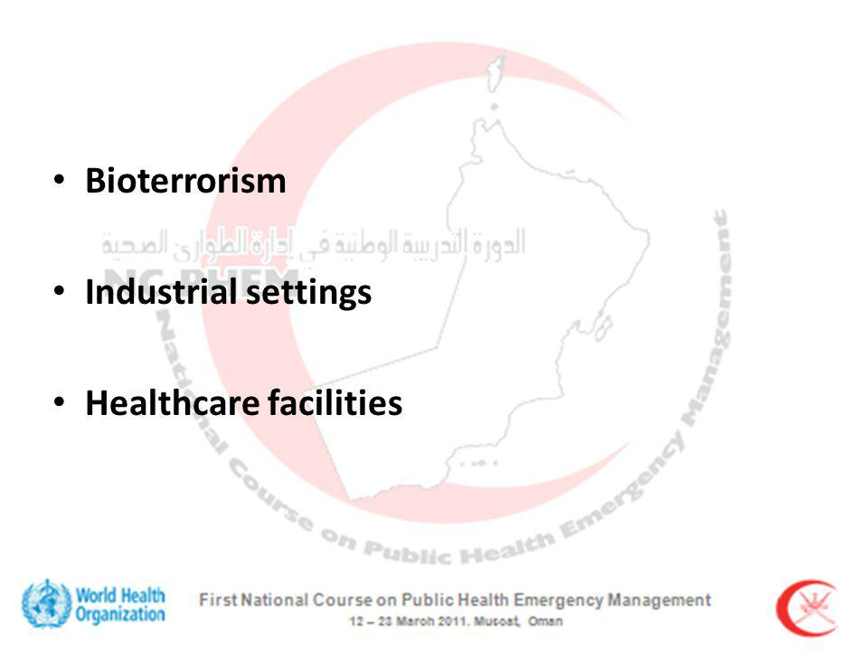 Bioterrorism Industrial settings Healthcare facilities