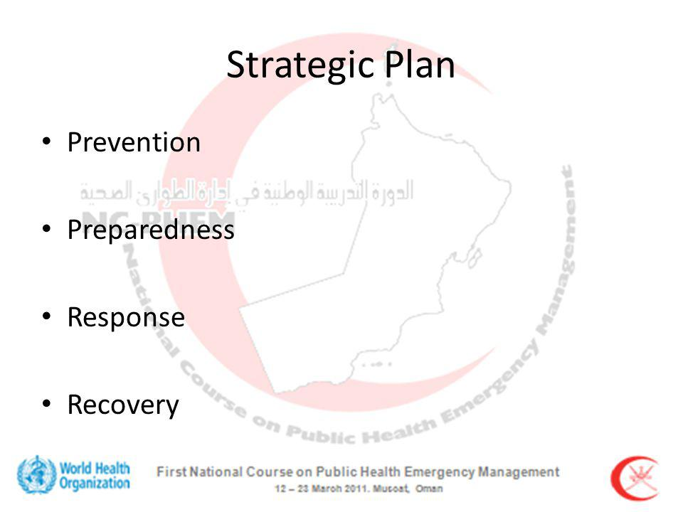 Strategic Plan Prevention Preparedness Response Recovery