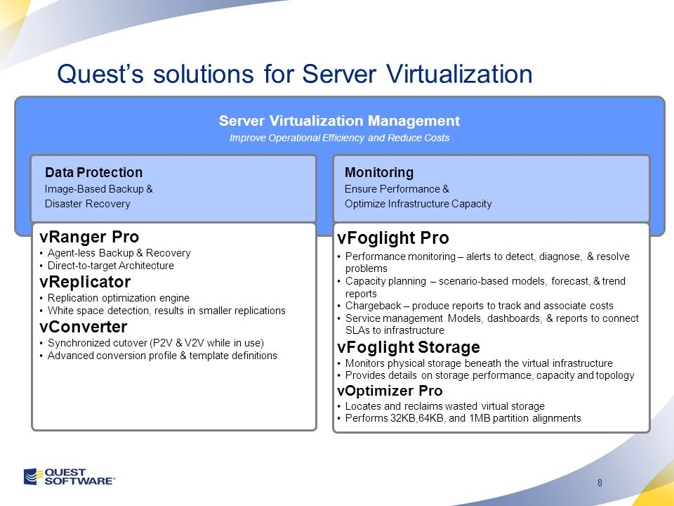 8 Server Virtualization Management Improve Operational Efficiency and Reduce Costs Data Protection Image-Based Backup & Disaster Recovery vRanger Pro