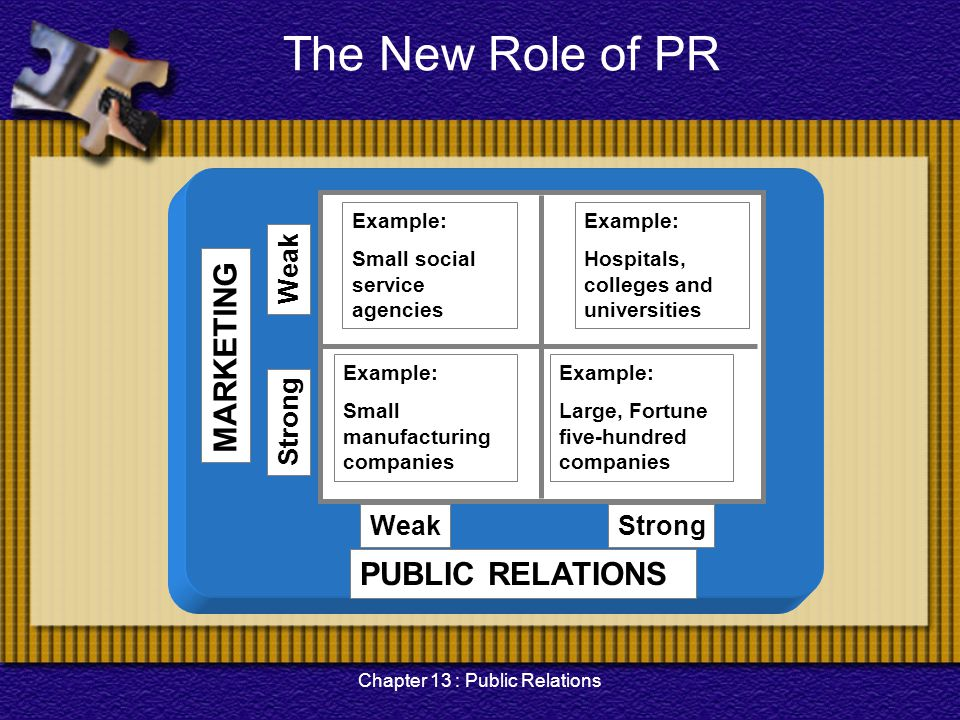 Chapter 13 : Public Relations Tactics The tactic of public relations partly depend on they type of media or dissemination tool used