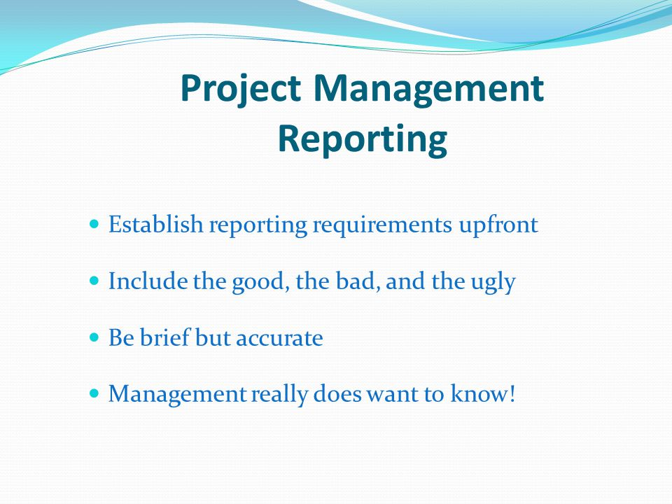 Project Management Reporting Establish reporting requirements upfront Include the good, the bad, and the ugly Be brief but accurate Management really does want to know!