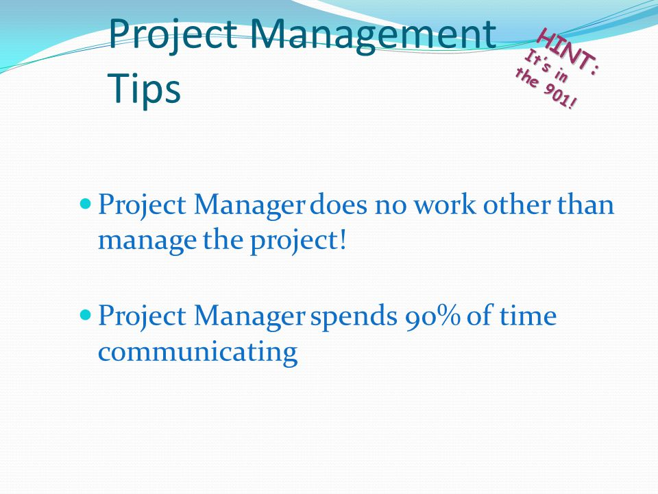 Project Manager does no work other than manage the project.