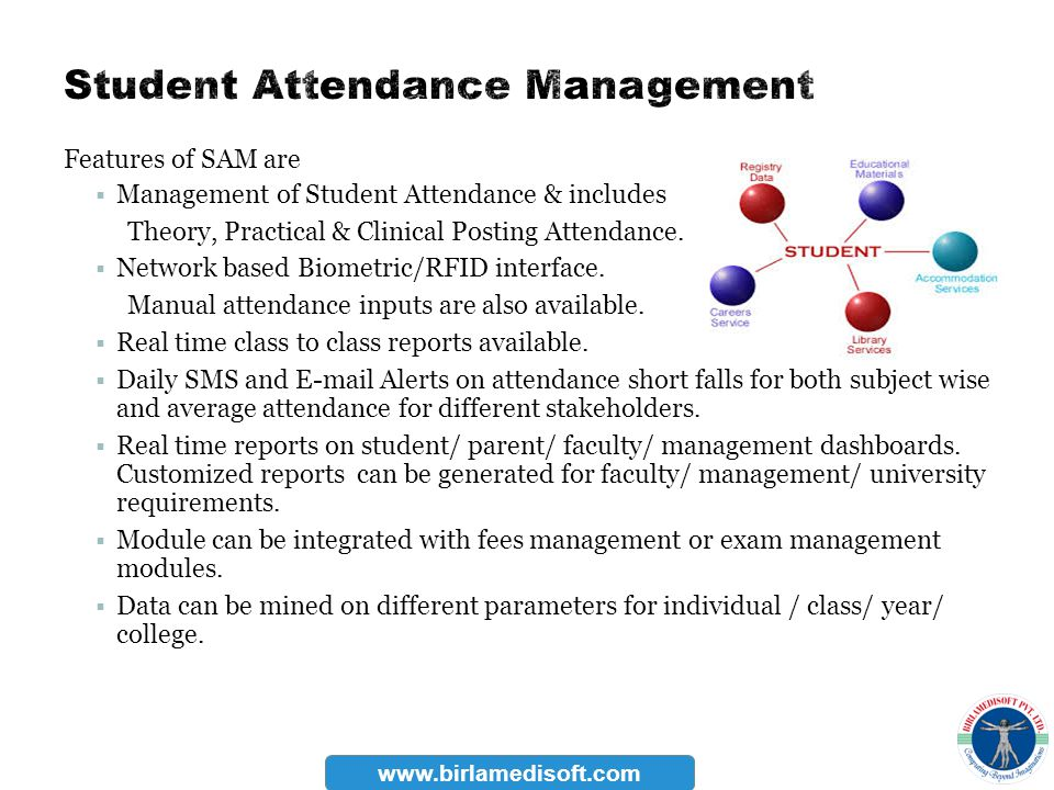 Features of SAM are Management of Student Attendance & includes Theory, Practical & Clinical Posting Attendance. Network based Biometric/RFID interfac