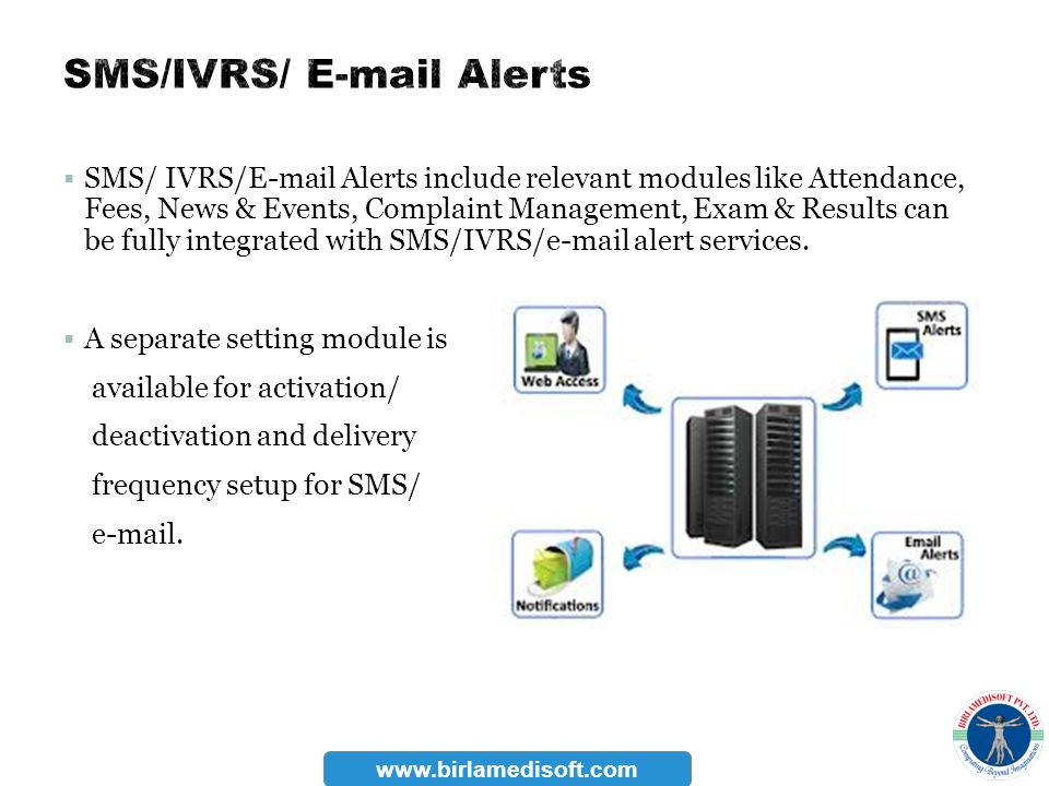 SMS/ IVRS/E-mail Alerts include relevant modules like Attendance, Fees, News & Events, Complaint Management, Exam & Results can be fully integrated wi