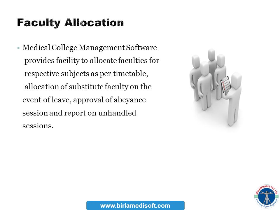 Medical College Management Software provides facility to allocate faculties for respective subjects as per timetable, allocation of substitute faculty