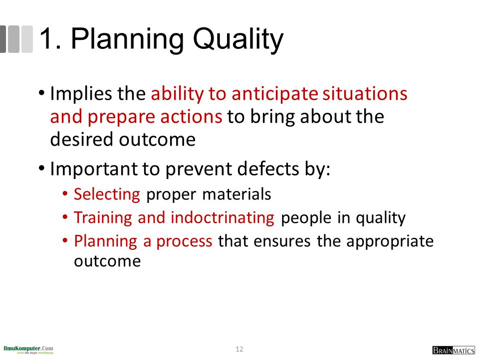 1. Planning Quality Implies the ability to anticipate situations and prepare actions to bring about the desired outcome Important to prevent defects b