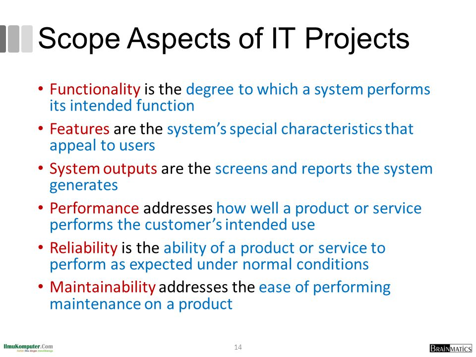 Scope Aspects of IT Projects Functionality is the degree to which a system performs its intended function Features are the systems special characteristics that appeal to users System outputs are the screens and reports the system generates Performance addresses how well a product or service performs the customers intended use Reliability is the ability of a product or service to perform as expected under normal conditions Maintainability addresses the ease of performing maintenance on a product 14