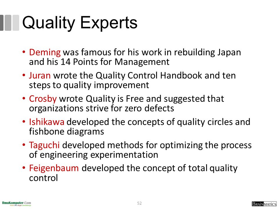 Quality Experts Deming was famous for his work in rebuilding Japan and his 14 Points for Management Juran wrote the Quality Control Handbook and ten steps to quality improvement Crosby wrote Quality is Free and suggested that organizations strive for zero defects Ishikawa developed the concepts of quality circles and fishbone diagrams Taguchi developed methods for optimizing the process of engineering experimentation Feigenbaum developed the concept of total quality control 52