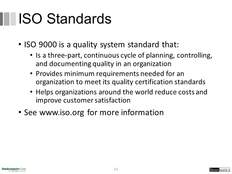 ISO Standards ISO 9000 is a quality system standard that: Is a three-part, continuous cycle of planning, controlling, and documenting quality in an organization Provides minimum requirements needed for an organization to meet its quality certification standards Helps organizations around the world reduce costs and improve customer satisfaction See www.iso.org for more information 54