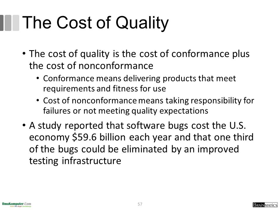 The Cost of Quality The cost of quality is the cost of conformance plus the cost of nonconformance Conformance means delivering products that meet requirements and fitness for use Cost of nonconformance means taking responsibility for failures or not meeting quality expectations A study reported that software bugs cost the U.S.