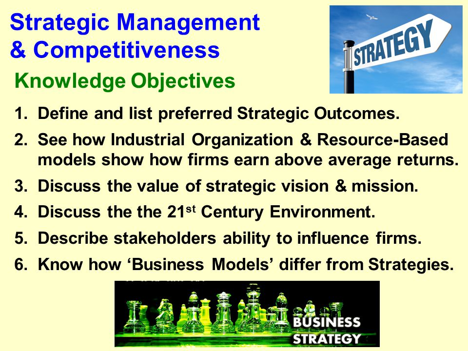1-2 Business Models Stakeholders Strategy & the 21 st Century Outcomes & Basic Definitions The Strategic Mgmt. Process What is Strategy? Competing App