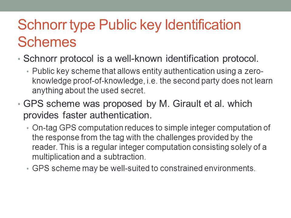 Schnorr type Public key Identification Schemes Schnorr protocol is a well-known identification protocol. Public key scheme that allows entity authenti