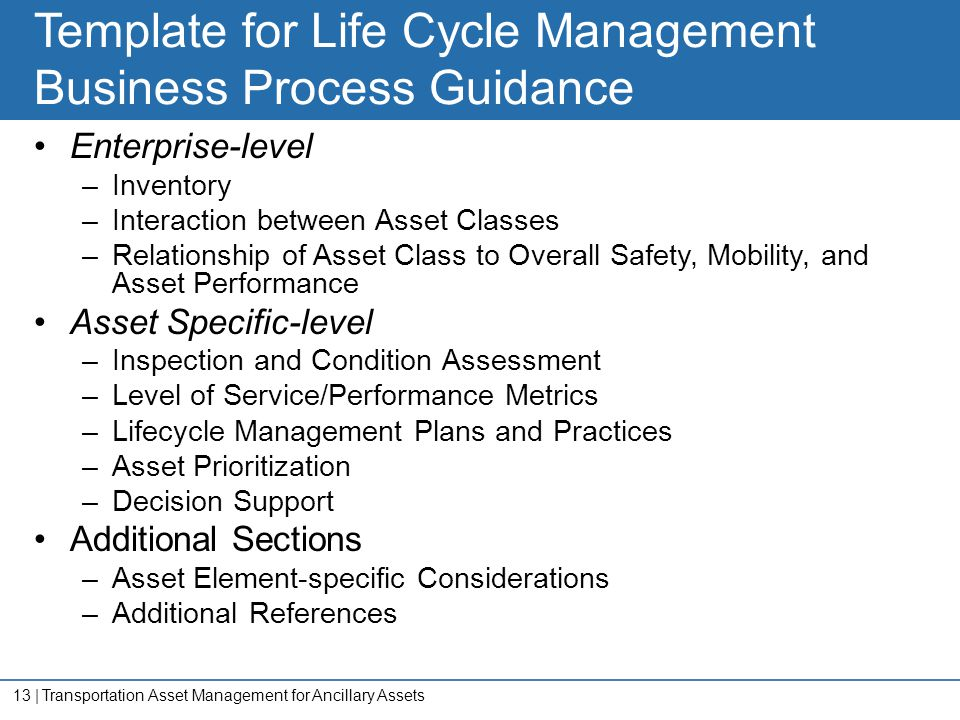 13   Template for Life Cycle Management Business Process Guidance Enterprise-level –Inventory –Interaction between Asset Classes –Relationship of Asse