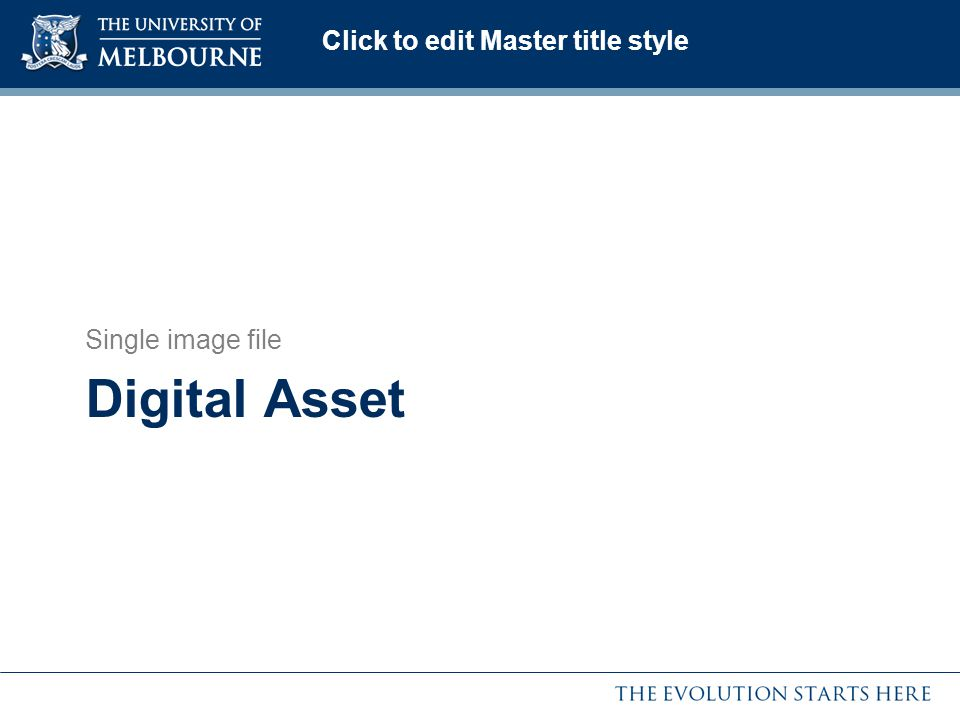 Click to edit Master title style Digital Asset Single image file