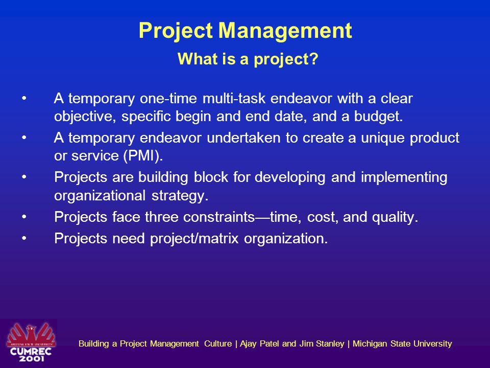 Building a Project Management Culture | Ajay Patel and Jim Stanley | Michigan State University Project Management What is project management.