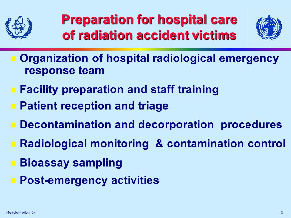 Module Medical XVII. - 3 Preparation for hospital care of radiation accident victims n Organization of hospital radiological emergency response team n