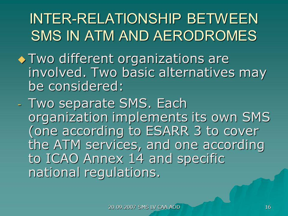 20.09.2007 SMS LV CAA AOD 16 INTER-RELATIONSHIP BETWEEN SMS IN ATM AND AERODROMES Two different organizations are involved. Two basic alternatives may